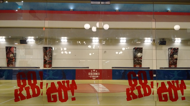KidZania SG - Specially-designed child-safe glass doors that lead to KidZania Singapore's sports Stadium