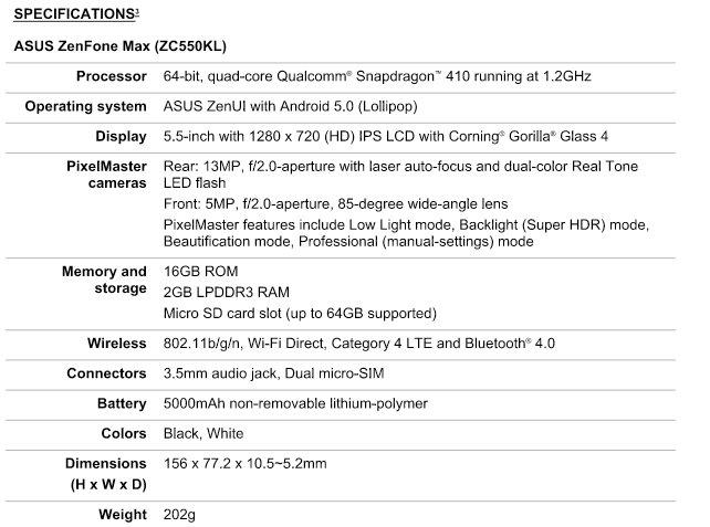 ASUS Zenfone Max specification